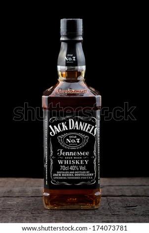 varnabulgaria january 262014 photo bottle jack daniels stock photo