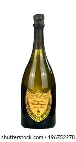 VARNA,BULGARIA-MARCH 02.2014: Photo of a botle Champagne Dom Perignon vintage 2004. Dom Perignon is a brand of vintage Champagne produced by the Champagne house Mo���«t & Chandon.