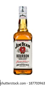 VARNA,BULGARIA-MARCH 02.2014: Photo of a bottle of Jim Beam Bourbon. Jim Beam is an American brand of bourbon whiskey produced in Clermont, Kentucky.