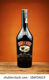 """VARNA,BULGARIA-March 09,2014: Photo of bottle of """"Baileys"""" irish cream.Baileys Irish Cream is an Irish whiskey and cream based liqueur, made by Gilbeys of Ireland"""