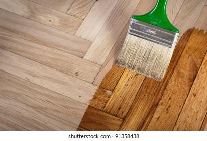 Varnish brush strokes on a wooden floor