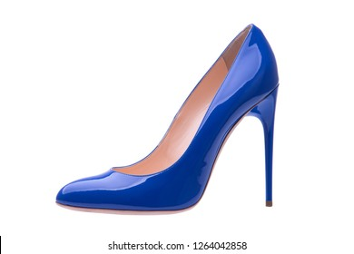 Varnished blue shoes on a white background. High-heeled shoes. Blue shoes.