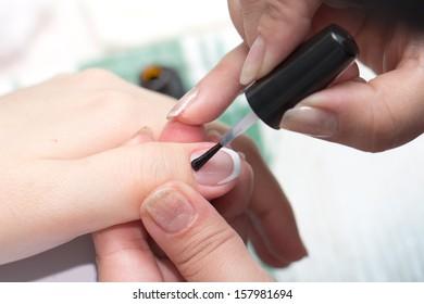 varnished nail manicure room
