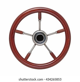 Varnished wooden boat steering wheel with five stainless spokes, front view, isolated on white