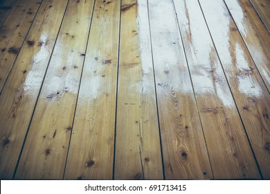 Varnished wooden floor