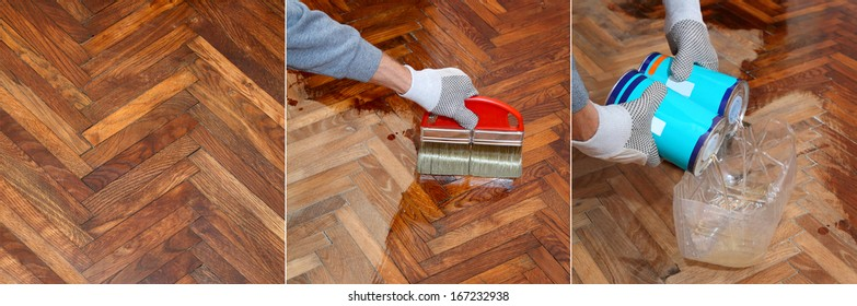 Varnishing of oak parquet floor process, workers hand in glove, brush, lacquer