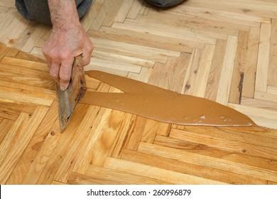 Varnishing of oak parquet floor, senior workers hand and tool, 77 year old senior worker