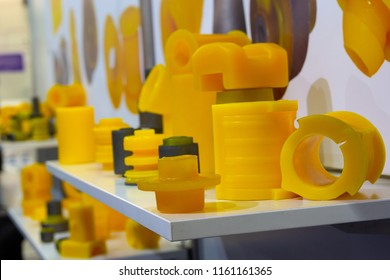 Varous products from polyurethane on the exhibition stand. industry