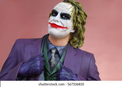Vasa, Cyprus - 7 May 2014: A mannequin of Joker by Heath Ledger on street