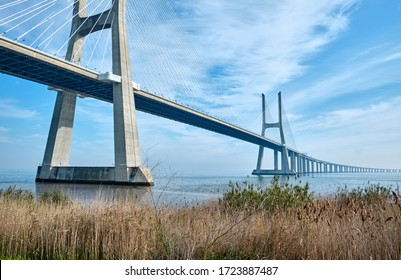 Vasco da Gama bridge is cable-stayed bridge and Tagus river. Lisbon, Portugal.
