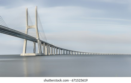 The Vasco da Gama Bridge is a cable-stayed bridge flanked by viaducts and rangeviews that spans the Tagus River in Parque das Nações in Lisbon. It is the longest bridge in Europe (including viaducts)