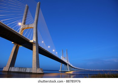 The Vasco da Gama Bridge is a famous landmark in Lisbon / Portugal