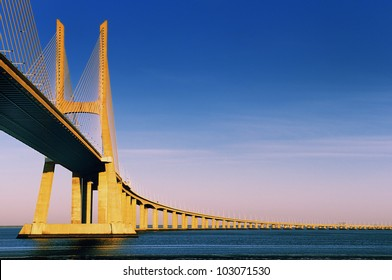Vasco da Gama bridge is the largest in Europe over the Tagus river