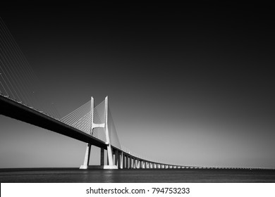 Vasco da Gama bridge is the largest in Europe over the Tagus river. Lisbon, Portugal, Europe.