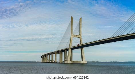 Vasco da Gama bridge in Lisbon panoramic view, Portugal
