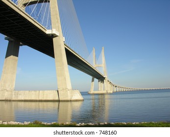Vasco da Gama bridge over Tagus (Tejo) River in Lisbon Portugal