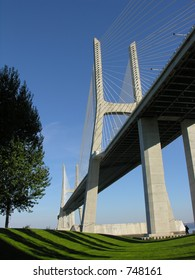 Vasco da Gama bridge over Tagus (Tejo) River in Lisbon
