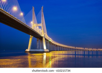 The Vasco De Gama Bridge,  Lisbon,  Portugal