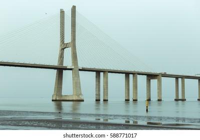 Vasco of Gama Bridge over River Tagus