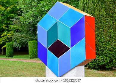 Vascoeuil, France - august 14 2020 : Vasarely work in the castle park