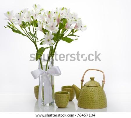 Vase Alstroemeria Green Chinese Teapot On Stock Photo Edit Now