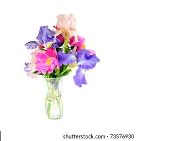 A vase of beautiful fresh cut spring flowers, horizontal with copy space