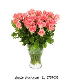 Vase with beautiful rose flowers on white background