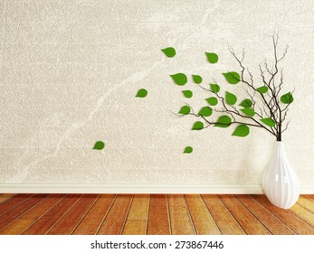 vase with the branches in the room