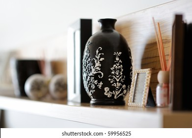 Vase closeup in nicely decorated living room