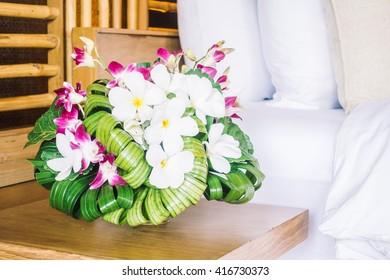 Vase flower decoration in bedroom interior - Vintage light Filter