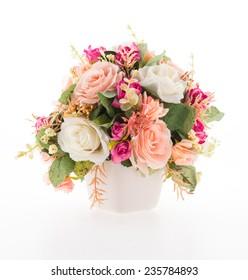 Vase flower isolated on white background