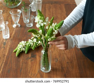 vase of flower on the wood table decoration style