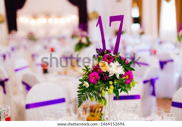 Vase Flowers Number On Wedding Reception Stock Photo (Edit Now ...