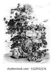 A vase of flowers, vintage engraved illustration. Magasin Pittoresque 1844.