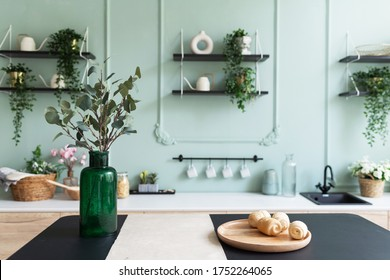 A vase with green plant on a table. Scandinavian classic kitchen with wooden and vintage details, minimalistic interior design. Real photo.Cosy home.