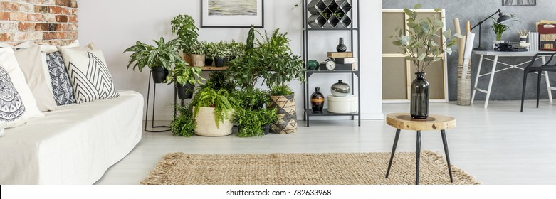 Vase on wooden stool on brown carpet in living room with white sofa, plants and workspace