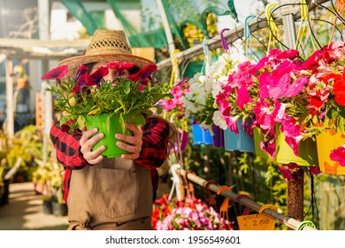 vase of spring flowers offered by an Italian girl in a greenhouse. concept of sale and kindness