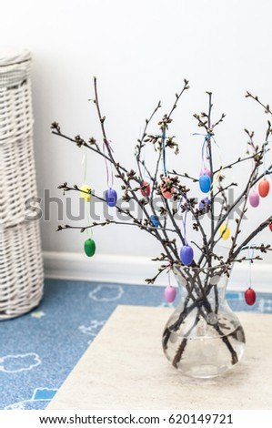 Vase Tree Branches Plastic Easter Eggs Stock Photo Edit Now