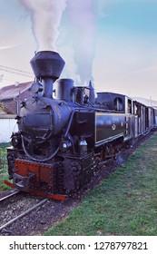 Vaser valley, Viseu, Romania, November 8, 2018 - old mocanita train