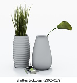 vases and pencil