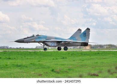 Vasilkov, Ukraine - April 24, 2012: Ukrainian Air Forces MiG-29 fighters during the training flights