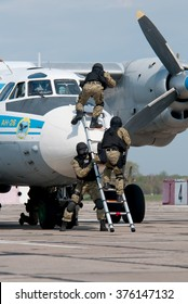 Vasilkov, Ukraine - April 24, 2012. Training of anti-terrorist units of the SBU for the release of hostages in the plane.