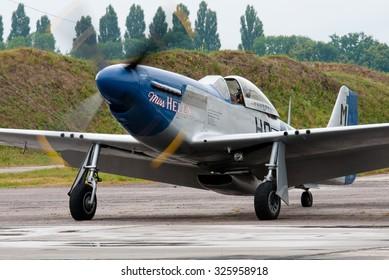 Vasilkov, Ukraine - July 3, 2013. World War II era P-51 fighter plane
