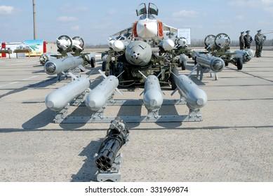 Vasilkov, Ukraine - March 28, 2008. The range of suspension weapon bomber Su-24M Fencer