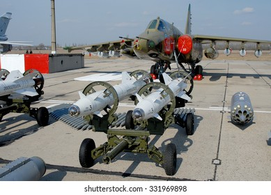 Vasilkov, Ukraine - March 28, 2008. The range of suspension weapon bomber Su-25 Frogfoot
