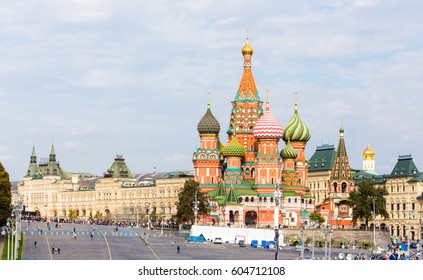Vasilyevsky Spusk square with Saint Basil's Cathedral and GUM in Moscow summer day