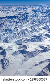 Vast Aerial view of Glaciers in Great Himalaya, in India