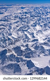 Vast aerial view of snow clad summits in Indian Himalaya