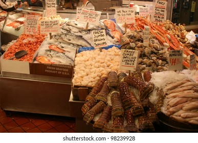 A vast array of fish awaits the shopper at Pikes market in seattle Washington