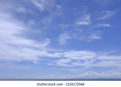 Vast big blue sky with clouds. Oslob, Cebu, Philippines.